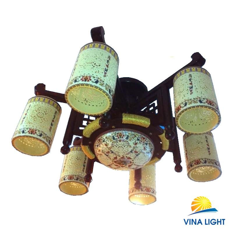 Đèn chùm 6 tay gỗ gốm VL-88150-6+1