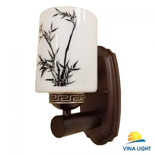 Đèn tường chao thủy tinh tay gỗ VL-8881-1