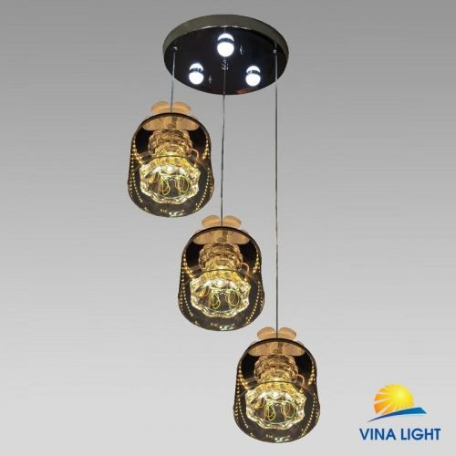 Đèn thả 3 đế Led chao thủy tinh VL-3969-3