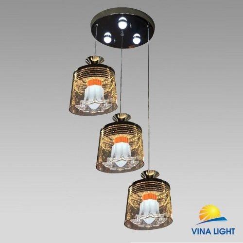 Đèn thả 3 đế Led chao thủy tinh VL-3972-3