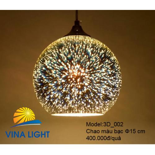 Đèn thả 3D chao màu bạc Ø15cm 3D_002