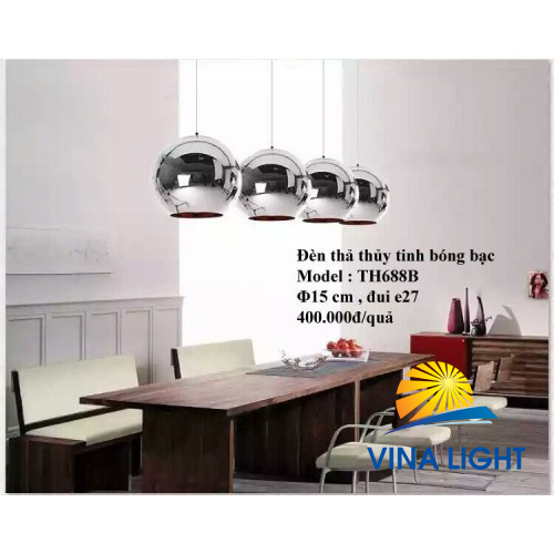 Đèn thả thủy tinh bóng bạc Ø150mm đui e27 TH688B