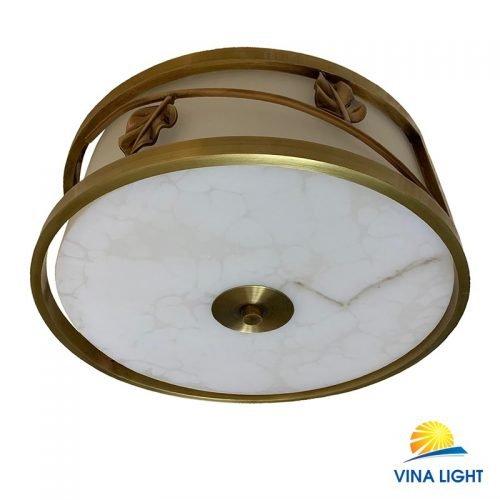 Đèn ốp trần đồng xịn chao đá trắng VL-X8079-500