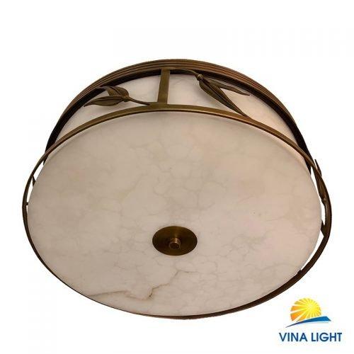 Đèn ốp trần đồng xịn chao đá trắng VL-X8080-500