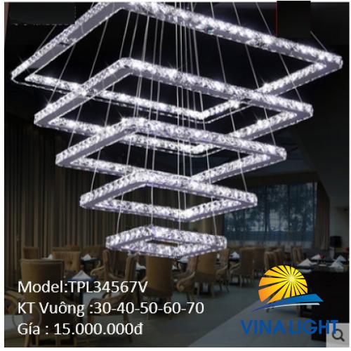 Đèn thả trần vuông 5 vòng Pha Lê TPL 34567